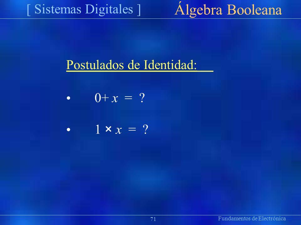 Fundamentos de Electrónica [ Sistemas Digitales ] Präsentat ion Álgebra Booleana Postulados de Identidad: 0+ x = ? 1 × x = ? 71