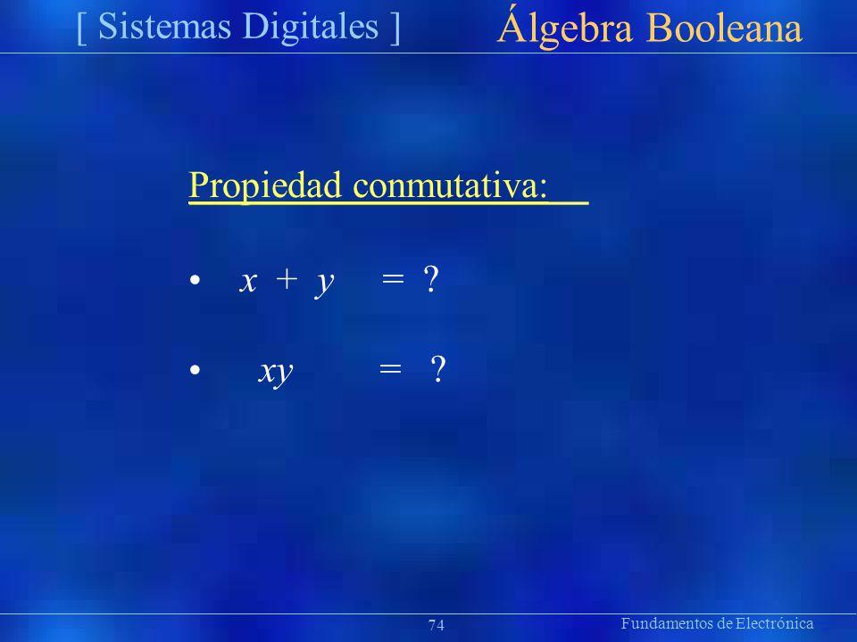 Fundamentos de Electrónica [ Sistemas Digitales ] Präsentat ion Álgebra Booleana Propiedad conmutativa: x + y xy = ? 74