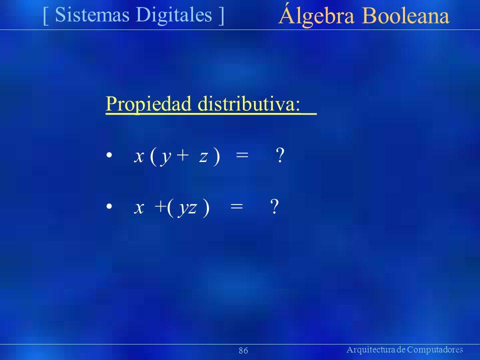 Arquitectura de Computadores [ Sistemas Digitales ] Präsentat ion Álgebra Booleana 86 Propiedad distributiva: x ( y + z ) =? x +( yz ) = ?