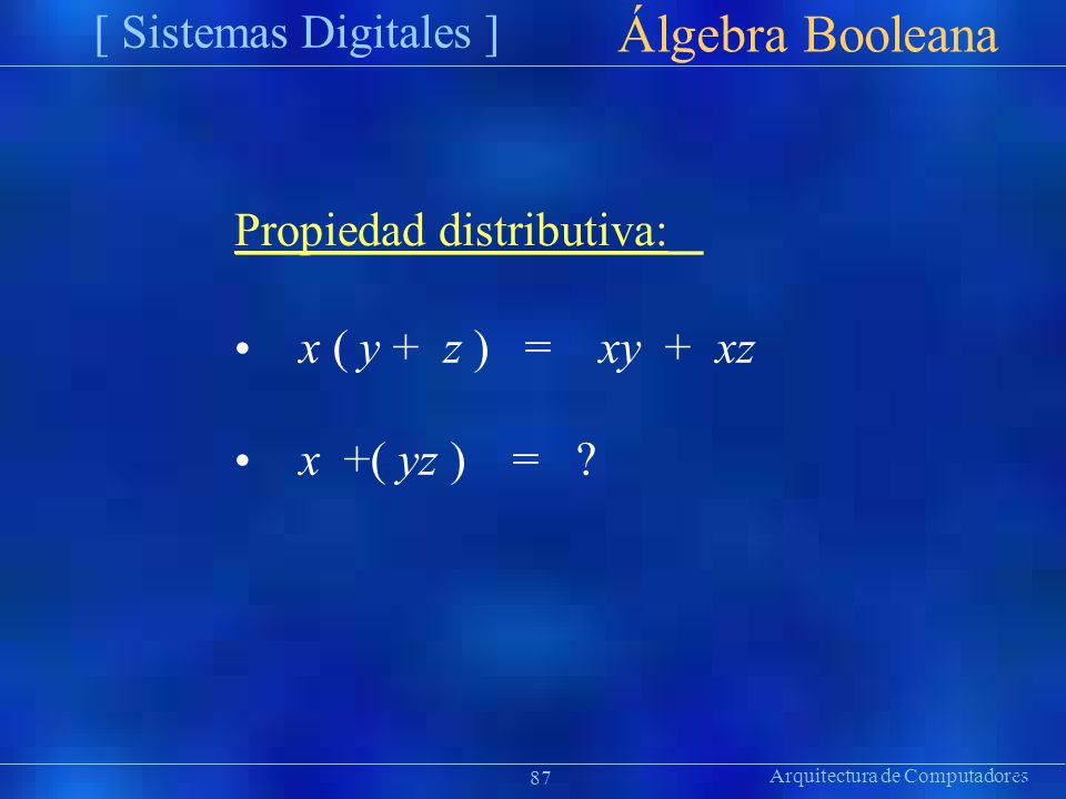 Arquitectura de Computadores [ Sistemas Digitales ] Präsentat ion Álgebra Booleana 87 Propiedad distributiva: x ( y + z ) = xy + xz x +( yz ) = ?