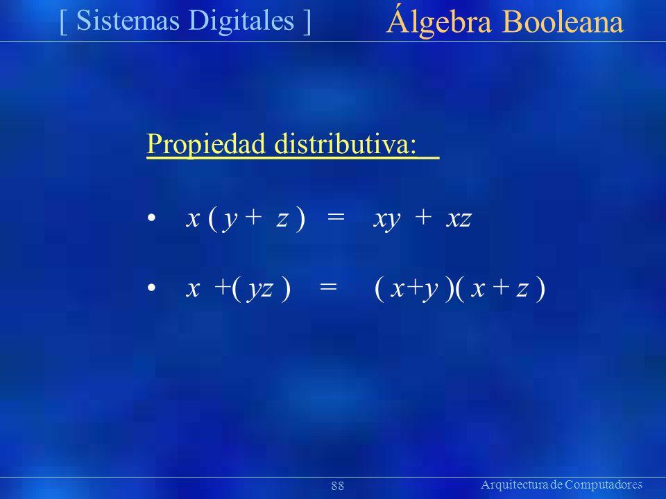 Arquitectura de Computadores [ Sistemas Digitales ] Präsentat ion Álgebra Booleana 88 Propiedad distributiva: x ( y + z ) = xy + xz x +( yz ) = ( x+y