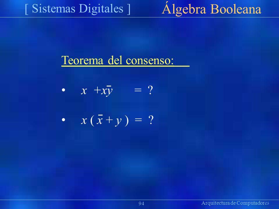 Arquitectura de Computadores [ Sistemas Digitales ] Präsentat ion Álgebra Booleana 94 Teorema del consenso: x +xy= ? x ( x + y ) = ?