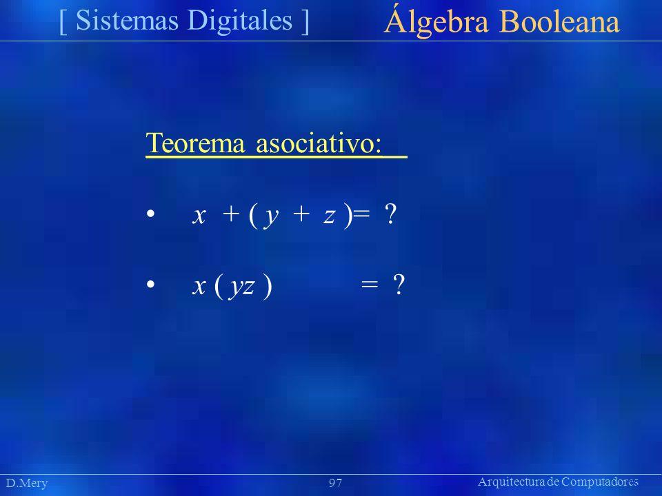 Arquitectura de Computadores [ Sistemas Digitales ] Präsentat ion Álgebra Booleana D.Mery97 Teorema asociativo: x + ( y + z )= ? x ( yz )= ?