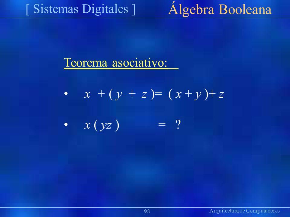 Arquitectura de Computadores [ Sistemas Digitales ] Präsentat ion Álgebra Booleana 98 Teorema asociativo: x + ( y + z )= ( x + y )+ z x ( yz )= ?