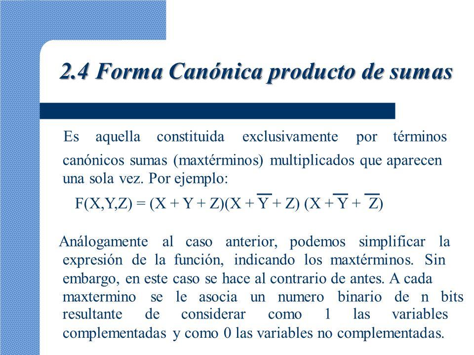 2.4 Forma Canónica producto de sumas Así por ejemplo el maxtermino X + Y + Z corresponde a combinación X=1, Y=0, Z=0 que representa el numero binario 100, cuyo valor decimal es 4.Aeste maxtermino lo identificaremos entonces como M4.