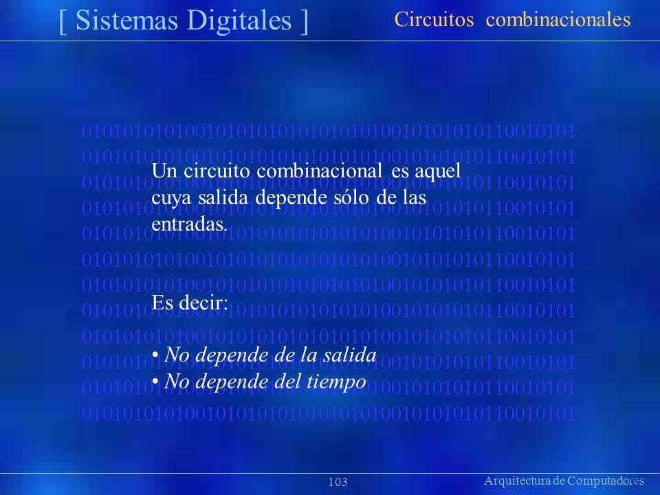 Arquitectura de Computadores 010101010100101010101010101010010101010110010101 [ Sistemas Digitales ] Präsentat ion Circuitos combinacionales 103 Un ci