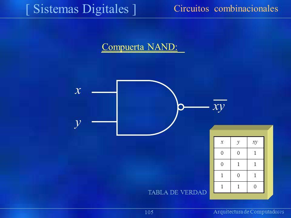 xyxy 001 011 101 110 Arquitectura de Computadores [ Sistemas Digitales ] Präsentat ion Circuitos combinacionales 105 Compuerta NAND: x xy y TABLA DE V