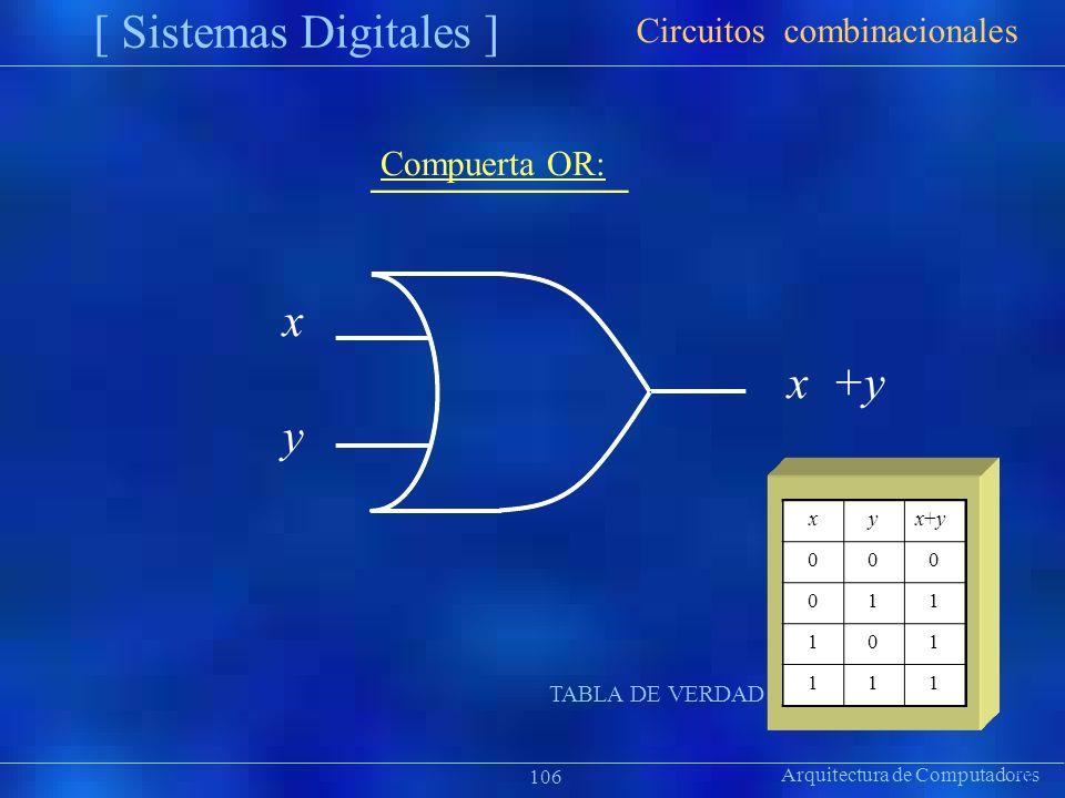 xyx+yx+y 000 011 101 111 Arquitectura de Computadores [ Sistemas Digitales ] Präsentat ion Circuitos combinacionales 106 Compuerta OR: x x +y y TABLA