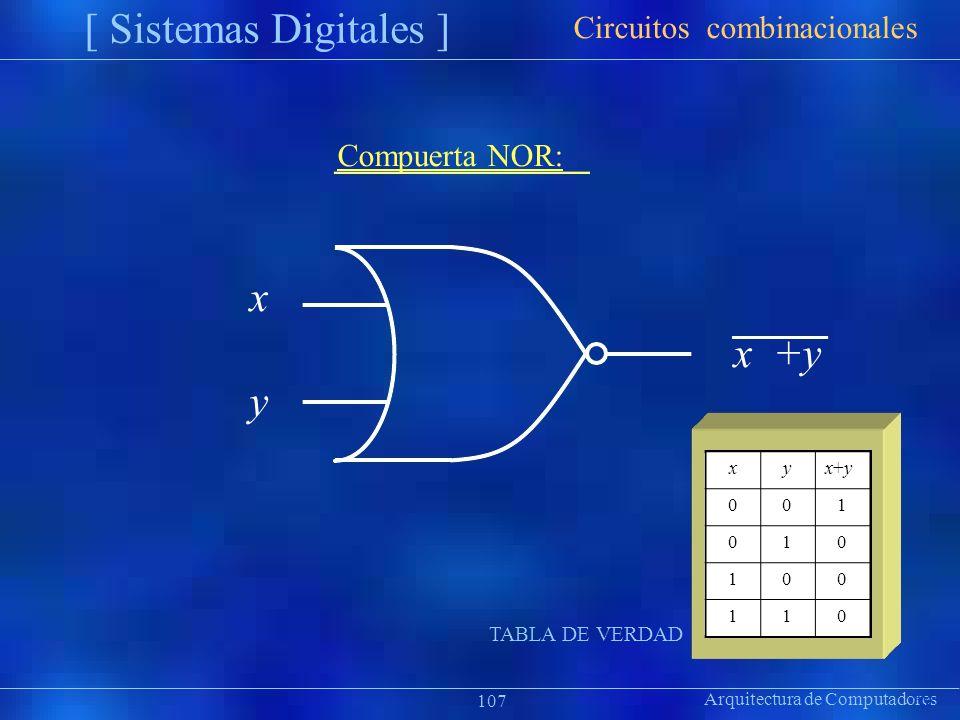 xyx+yx+y 001 010 100 110 Arquitectura de Computadores [ Sistemas Digitales ] Präsentat ion Circuitos combinacionales 107 Compuerta NOR: x x +y y TABLA