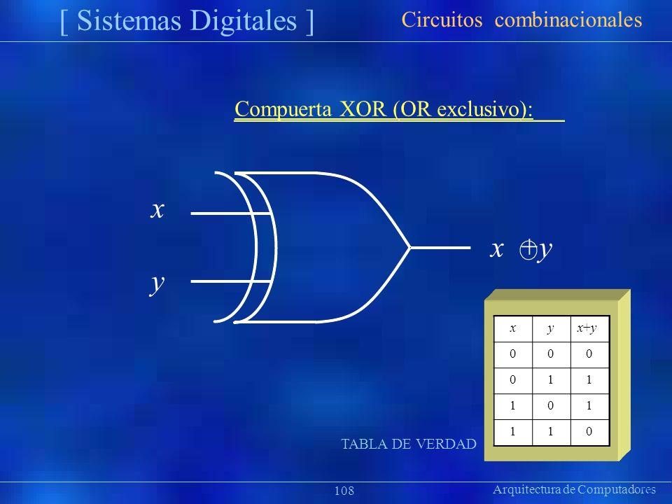 xyx+yx+y 000 011 101 110 Arquitectura de Computadores [ Sistemas Digitales ] Präsentat ion Circuitos combinacionales 108 Compuerta XOR (OR exclusivo):
