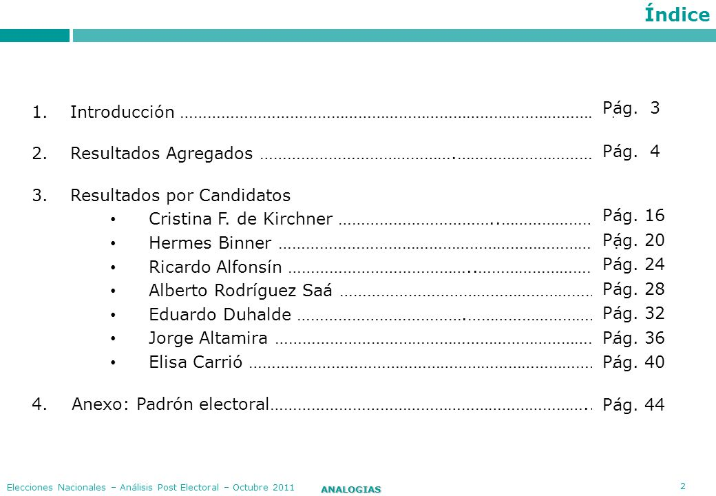 3 ANALOGIAS Elecciones Nacionales – Análisis Post Electoral – Octubre 2011 Introducción El siguiente informe tiene como objetivo presentar un análisis comparado de la performance de los candidatos presidenciales en las elecciones generales del 23 de octubre pasado.