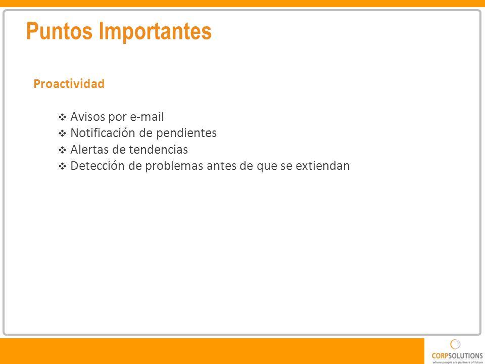 Puntos Importantes Proactividad Avisos por e-mail Notificación de pendientes Alertas de tendencias Detección de problemas antes de que se extiendan