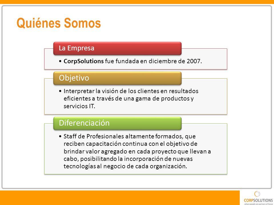 Quiénes Somos CorpSolutions fue fundada en diciembre de 2007.