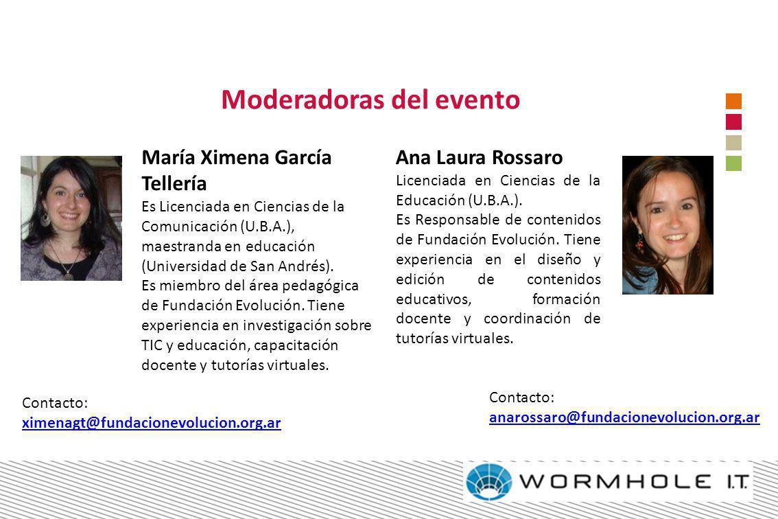María Ximena García Tellería Es Licenciada en Ciencias de la Comunicación (U.B.A.), maestranda en educación (Universidad de San Andrés). Es miembro de