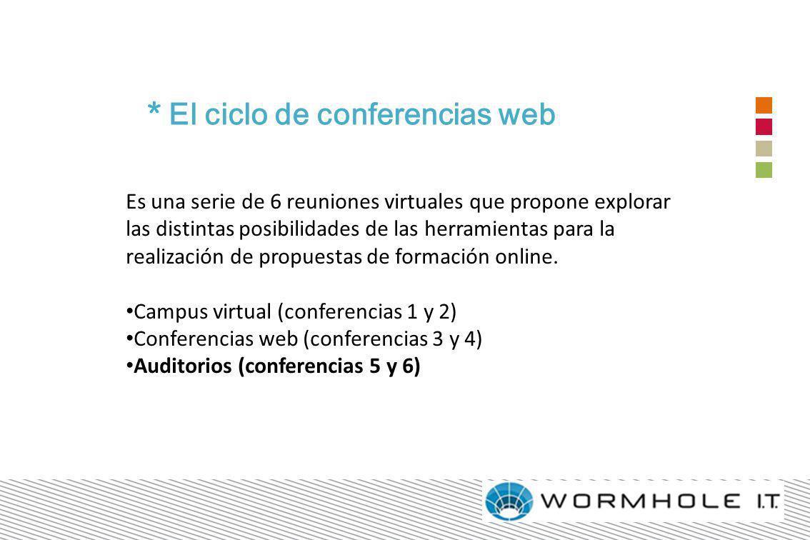 * El ciclo de conferencias web Es una serie de 6 reuniones virtuales que propone explorar las distintas posibilidades de las herramientas para la realización de propuestas de formación online.