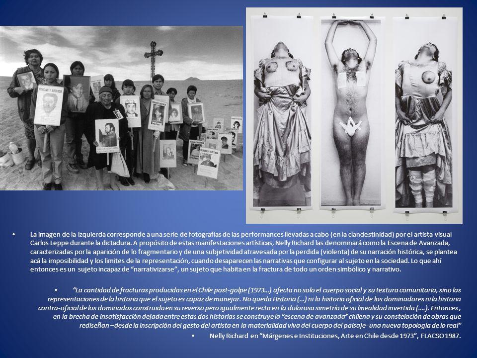 La imagen de la izquierda corresponde a una serie de fotografías de las performances llevadas a cabo (en la clandestinidad) por el artista visual Carl