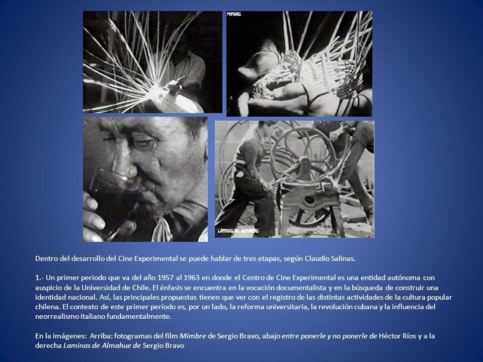 Dentro del desarrollo del Cine Experimental se puede hablar de tres etapas, según Claudio Salinas. 1.- Un primer periodo que va del año 1957 al 1963 e