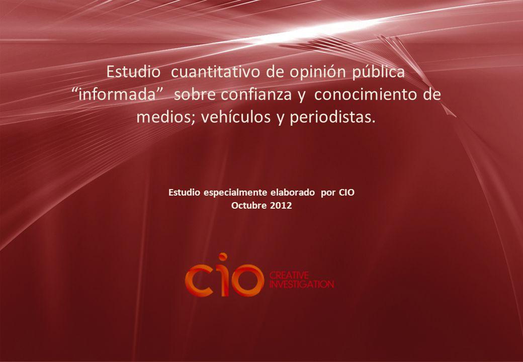 Estudio especialmente elaborado por CIO Octubre 2012 Estudio cuantitativo de opinión pública informada sobre confianza y conocimiento de medios; vehículos y periodistas.