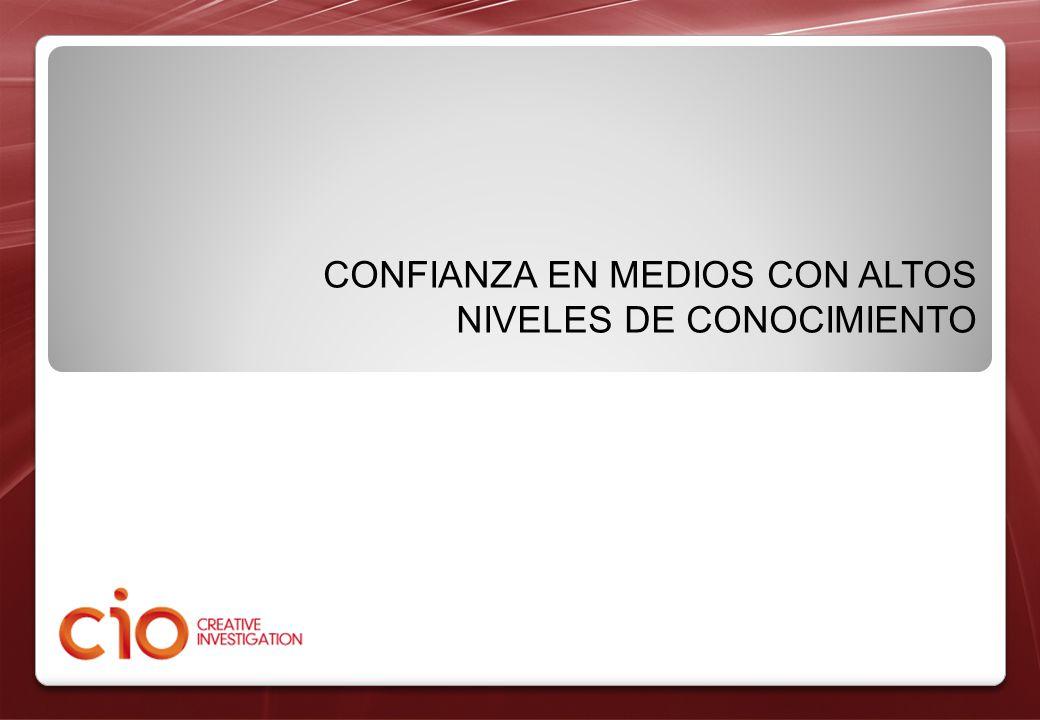 CONFIANZA EN MEDIOS CON ALTOS NIVELES DE CONOCIMIENTO