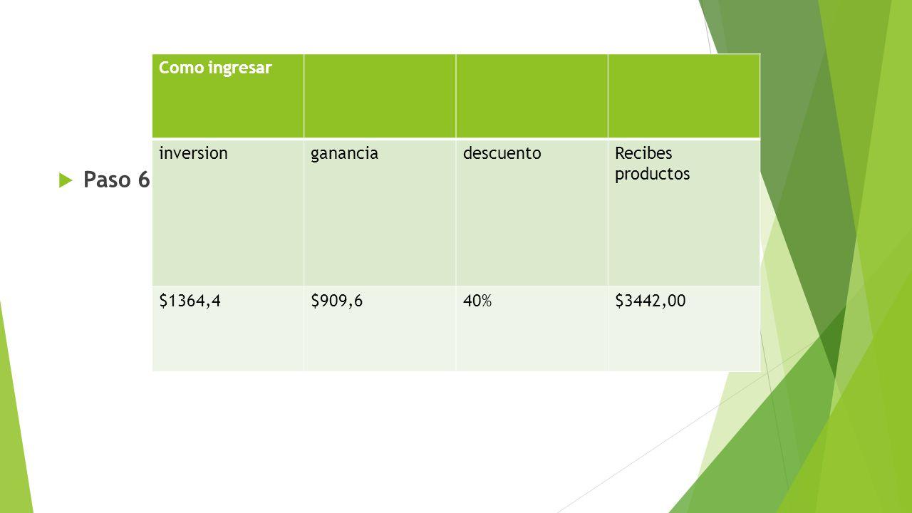 Paso 6 Como ingresar inversiongananciadescuentoRecibes productos $1364,4$909,640%$3442,00