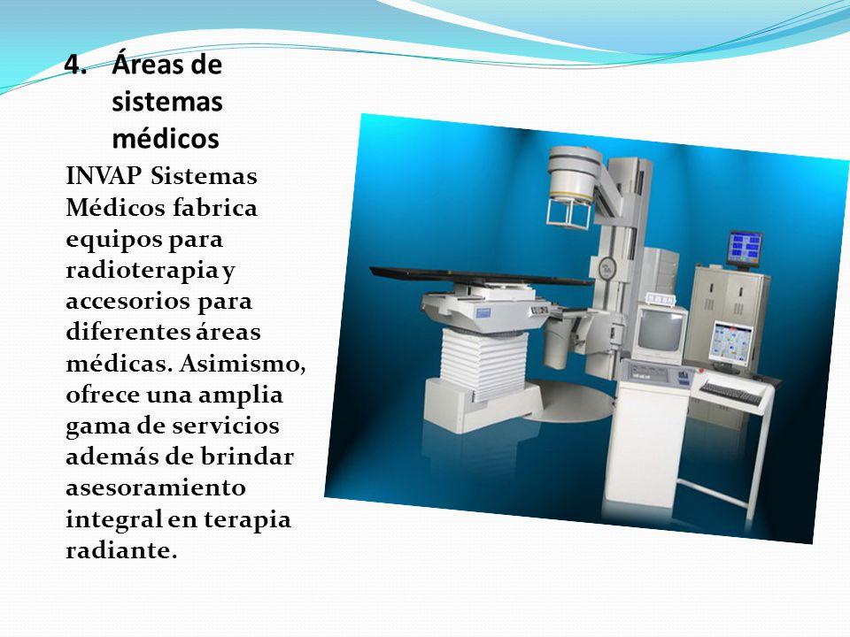 4.Áreas de sistemas médicos INVAP Sistemas Médicos fabrica equipos para radioterapia y accesorios para diferentes áreas médicas. Asimismo, ofrece una