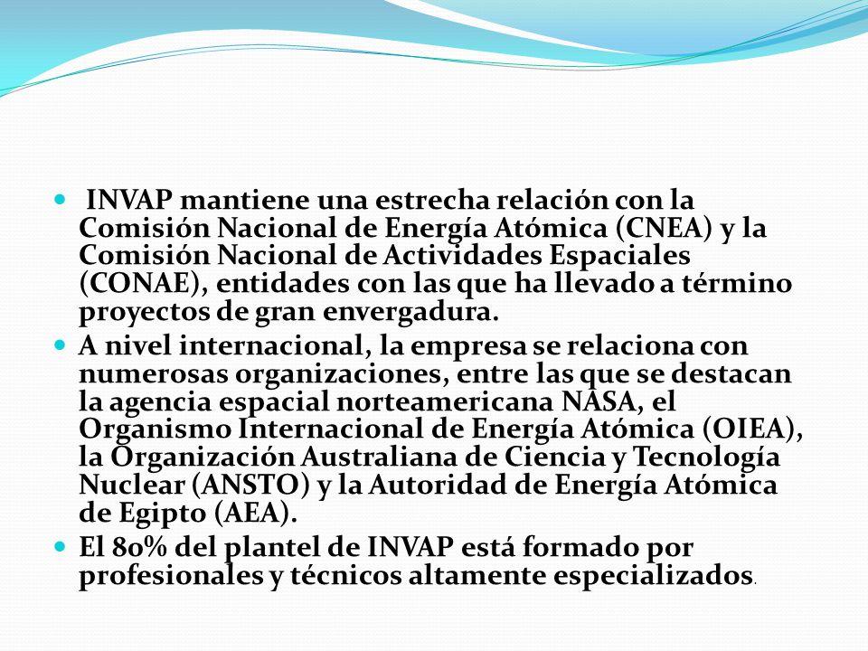 INVAP mantiene una estrecha relación con la Comisión Nacional de Energía Atómica (CNEA) y la Comisión Nacional de Actividades Espaciales (CONAE), enti