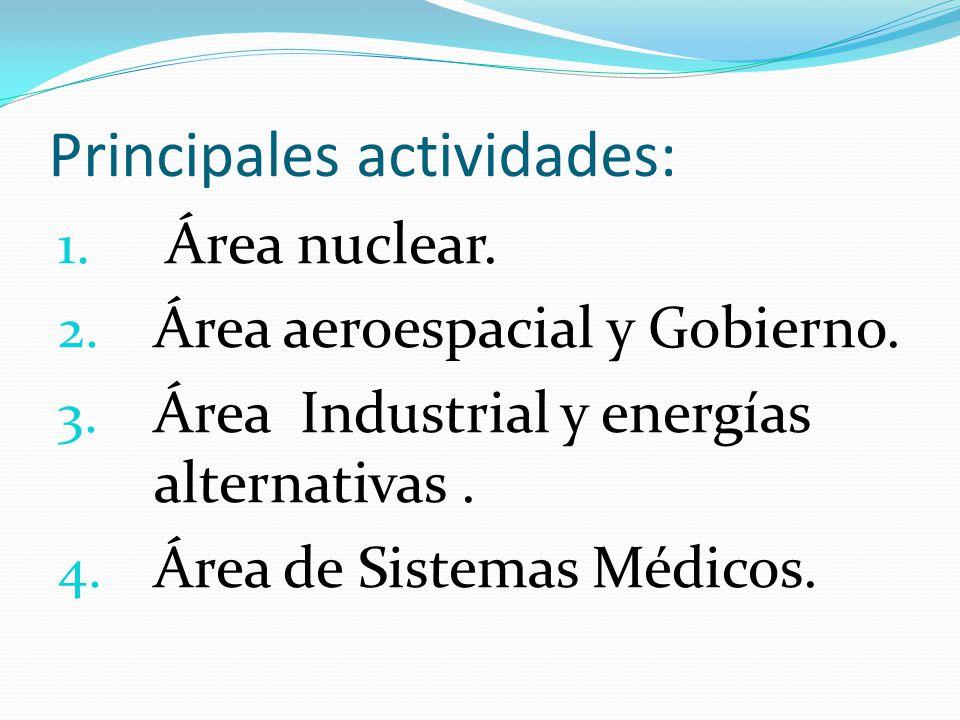 Principales actividades: 1. Área nuclear. 2. Área aeroespacial y Gobierno. 3. Área Industrial y energías alternativas. 4. Área de Sistemas Médicos.