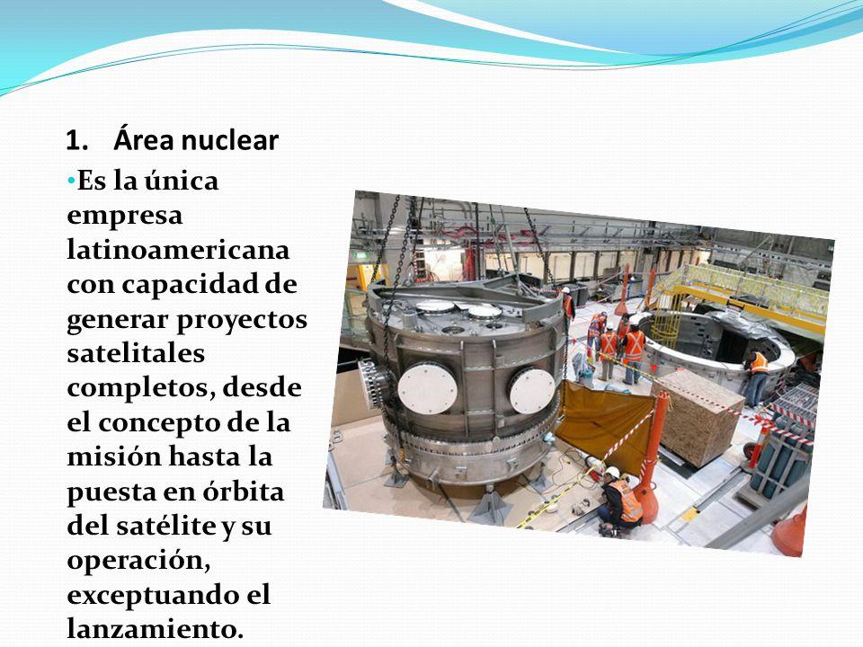 1.Área nuclear Es la única empresa latinoamericana con capacidad de generar proyectos satelitales completos, desde el concepto de la misión hasta la p
