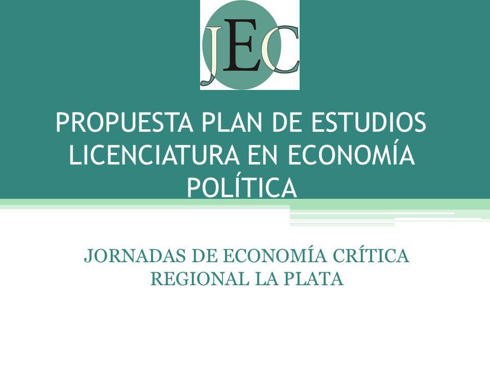 PROPUESTA PLAN DE ESTUDIOS LICENCIATURA EN ECONOMÍA POLÍTICA JORNADAS DE ECONOMÍA CRÍTICA REGIONAL LA PLATA