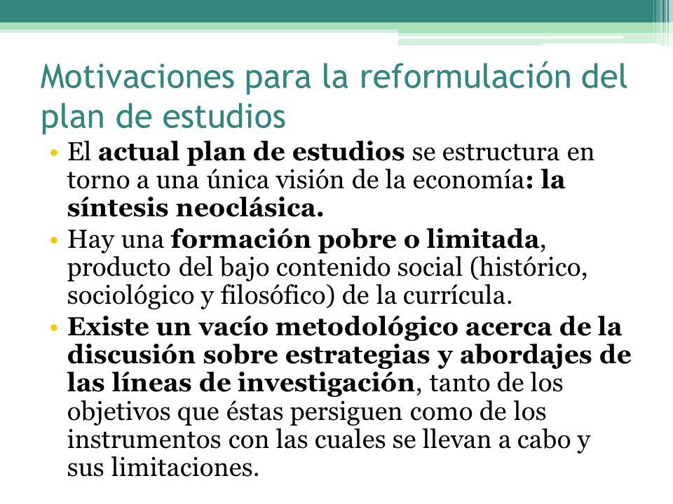Motivaciones para la reformulación del plan de estudios El actual plan de estudios se estructura en torno a una única visión de la economía: la síntesis neoclásica.