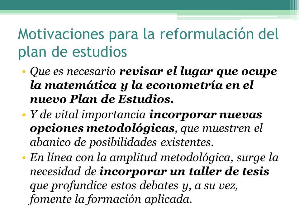 Motivaciones para la reformulación del plan de estudios Que es necesario revisar el lugar que ocupe la matemática y la econometría en el nuevo Plan de Estudios.