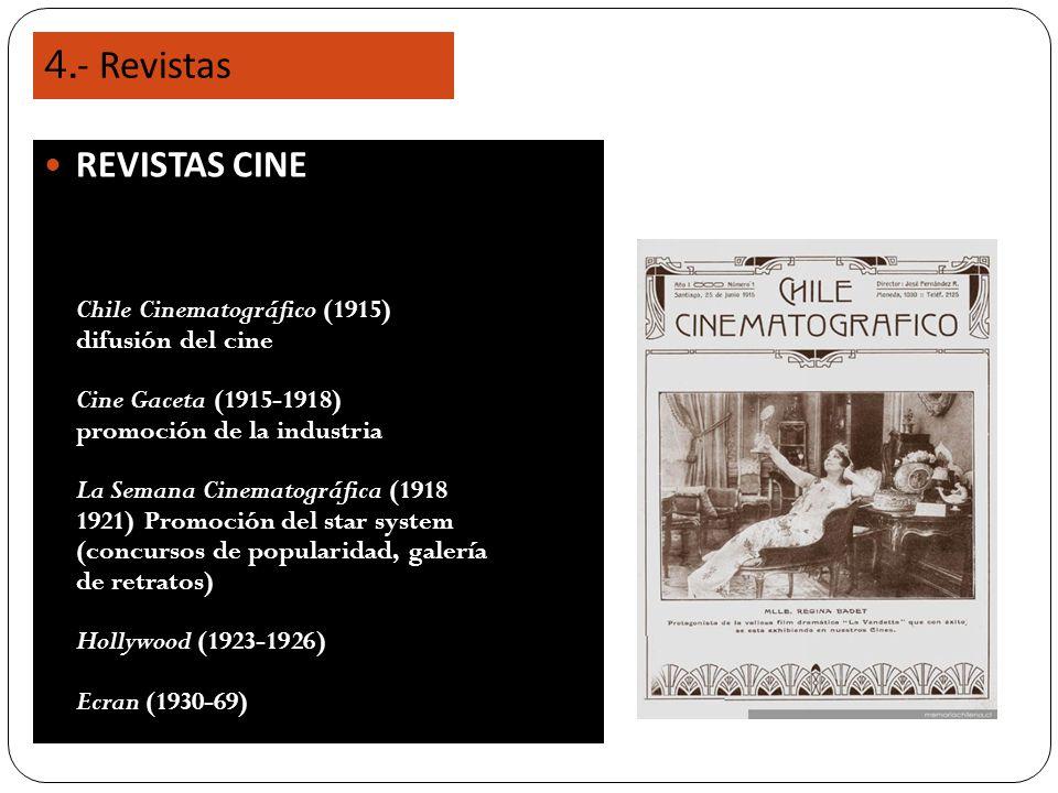 4.- Revistas REVISTAS CINE Chile Cinematográfico (1915) difusión del cine Cine Gaceta (1915-1918) promoción de la industria La Semana Cinematográfica (1918 1921) Promoción del star system (concursos de popularidad, galería de retratos) Hollywood (1923-1926) Ecran (1930-69)