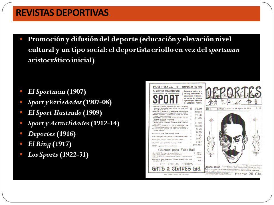 REVISTAS DEPORTIVAS. Promoción y difusión del deporte (educación y elevación nivel cultural y un tipo social: el deportista criollo en vez del sportsm