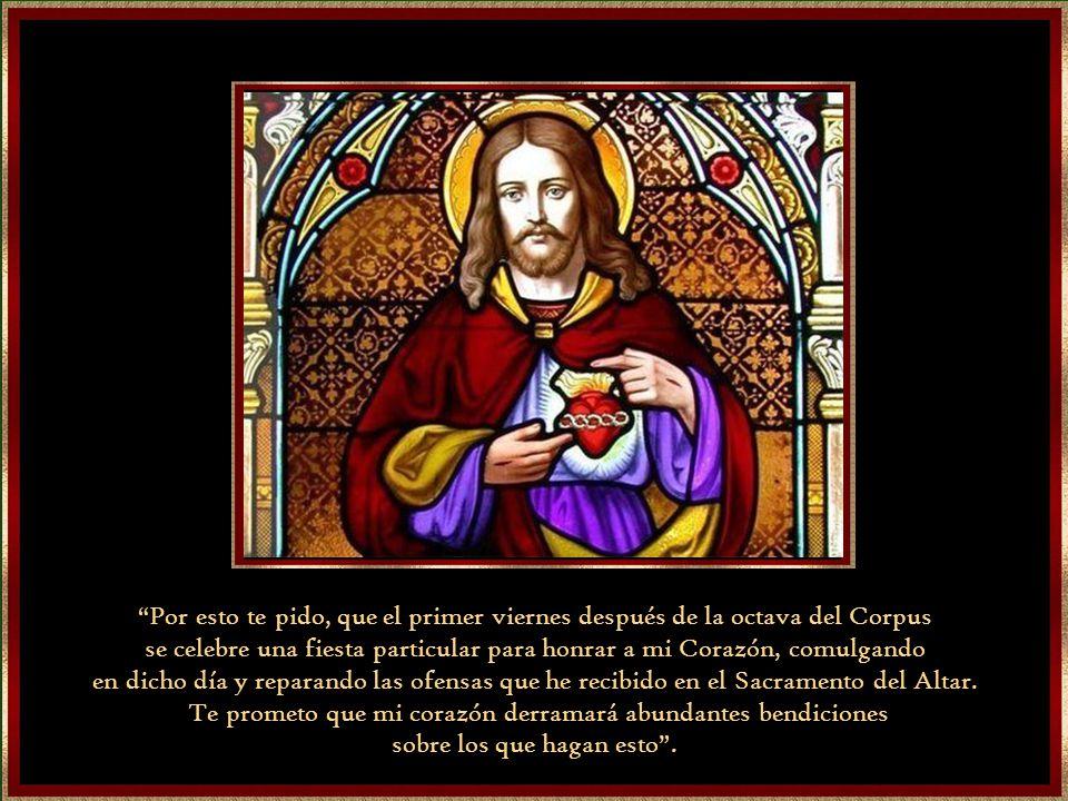 El cuarto, el gran encuentro fue en 1675. Margarita estaba adorando al Santísimo Sacramento cuando Jesús se le apareció y le dijo: Mira este Corazón q