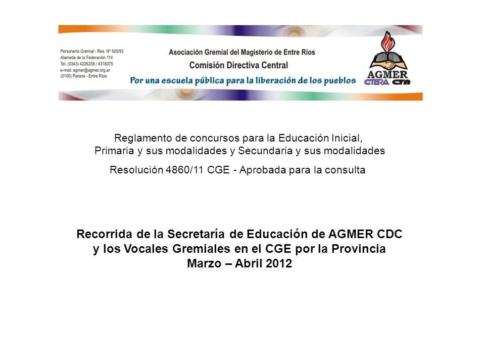 Reglamento de concursos para la Educación Inicial, Primaria y sus modalidades y Secundaria y sus modalidades Resolución 4860/11 CGE - Aprobada para la consulta Recorrida de la Secretaría de Educación de AGMER CDC y los Vocales Gremiales en el CGE por la Provincia Marzo – Abril 2012