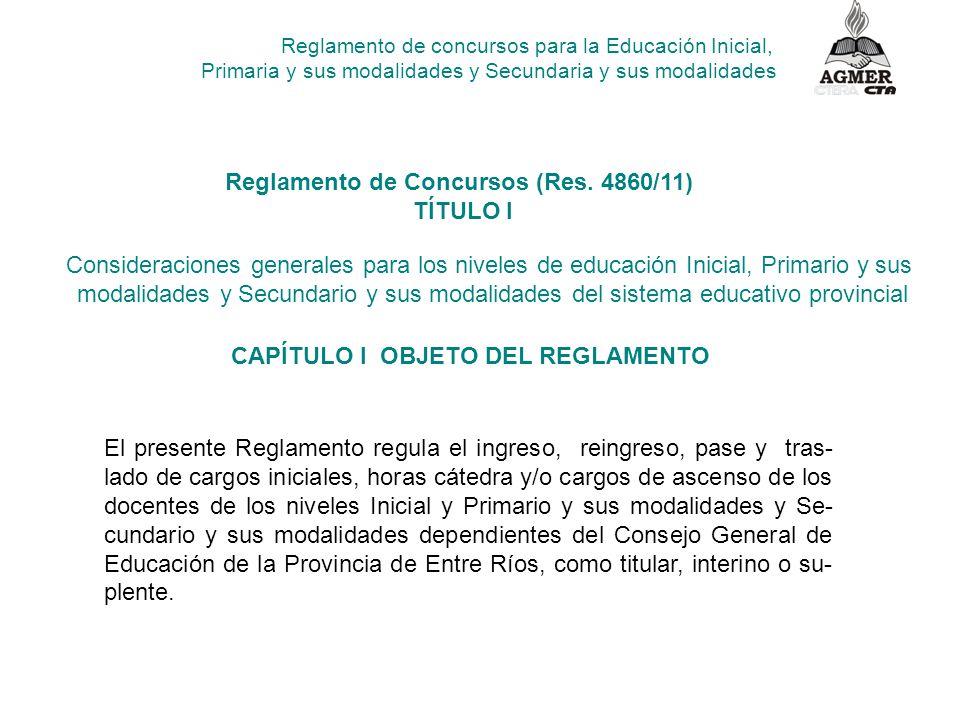 Reglamento de concursos para la Educación Inicial, Primaria y sus modalidades y Secundaria y sus modalidades Reglamento de Concursos (Res.