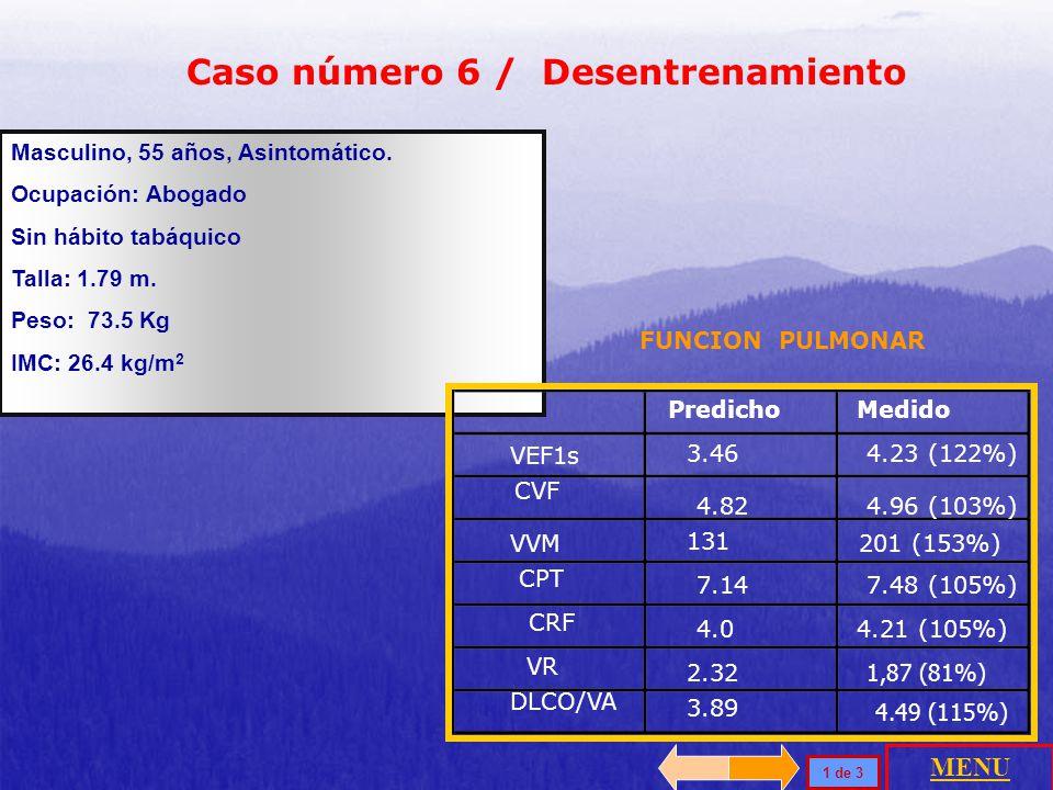 La función pulmonar demuestra compromiso obstructivo leve, con volúmenes y capacidades pulmonares normales y capacidad de difusión disminuida. El VO 2