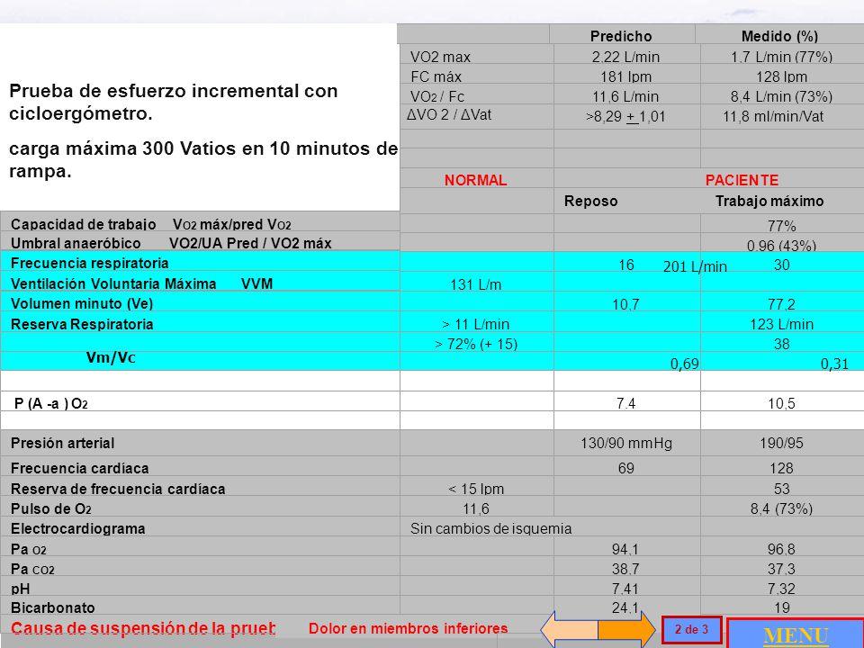 Caso número 6 / Desentrenamiento Masculino, 55 años, Asintomático. Ocupación: Abogado Sin hábito tabáquico Talla: 1.79 m. Peso: 73.5 Kg IMC: 26.4 kg/m
