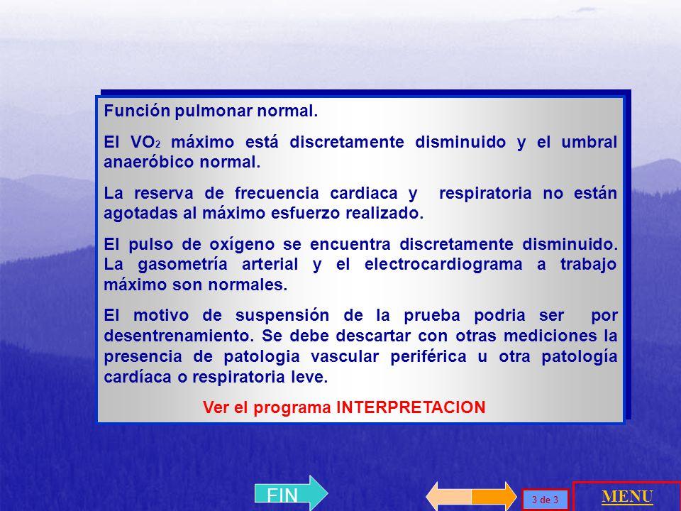 PredichoMedido (%) VO2 max2,22 L/min1,7 L/min (77%) FC máx181 lpm128 lpm VO 2 / Fc11,6 L/min8,4 L/min (73%) >8,29 + 1,01 11,8 ml/min/Vat NORMAL PACIEN