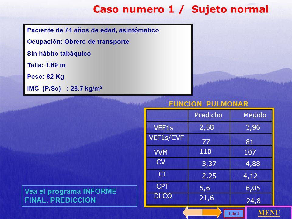 PredichoMedido (%) V O2 max 2,22 L/min1,47L/min (66) FC máx 162 lpm146 lpm V O2 / Fc13,7 L/min10,3 L/min (75) ΔV O 2 / ΔVat>10,29 + 1,01 7,2 ml/min/WV NORMAL PACIENTE Reposo Trabajo máximo Capacidad de trabajo V O2 máx / pred V O2 66 % Umbral anaeróbico V O2 /UA Pred / V O2 máx 0,8 (36%) Frecuencia respiratoria 1132 Ventilación Voluntaria Máxima VVM155 L/min Volumen minuto (Ve) 9,575,1 Reserva Respiratoria> 11 L/min 80 L/min > 72% (+ 15) 48% Vm / Vc 0,12 P (A -a) O 2 -3-6 Presión arterial 134/81 mmHg198/99 mmHg Frecuencia cardíaca 74146 Reserva de frecuencia cardíaca< 15 lpm 72 Pulso de O 2 Electrocardiograma Pa O2 Pa CO2 3529 pH 7,42 Bicarbonato 219 Causa de suspensión de la prueba Prueba de esfuerzo incremental con cicloergómetro, Carga máxima 150 Vatios en 10 minutos de rampa.