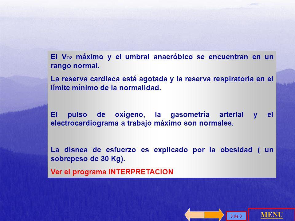 PredichoMedido V O2 max2,31 L/min2,45 L/min FC máx167 lpm168 lpm V O2 / Fc13,8 L/min15,6 L/min (68,4) V O2 máx / V>10,29 + 1,0110,4 ml/min / V NORMAL