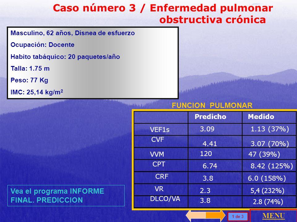 Caso número 3 / Enfermedad pulmonar obstructiva crónica Masculino, 62 años, Disnea de esfuerzo Ocupación: Docente Habito tabáquico: 20 paquetes/año Talla: 1.75 m Peso: 77 Kg IMC: 25,14 kg/m 2 FUNCION PULMONAR 1 de 3 Vea el programa INFORME FINAL.