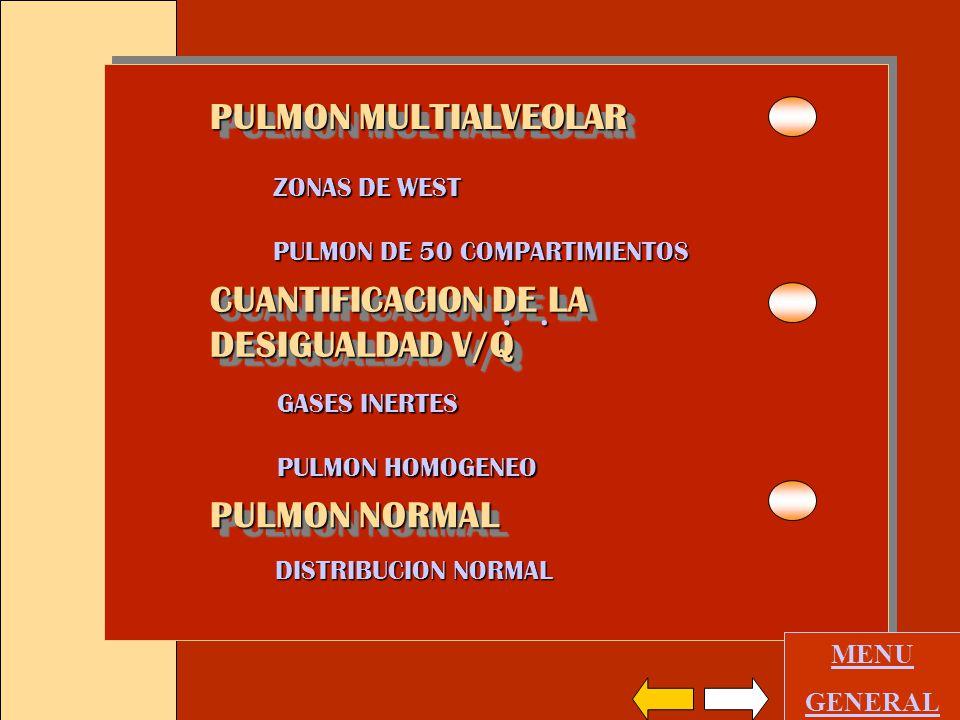 PULMON MULTIALVEOLAR ZONAS DE WEST PULMON DE 50 COMPARTIMIENTOS GASES INERTES PULMON HOMOGENEO PULMON NORMAL DISTRIBUCION NORMAL MENU GENERAL CUANTIFICACION DE LA DESIGUALDAD V/Q CUANTIFICACION DE LA DESIGUALDAD V/Q..