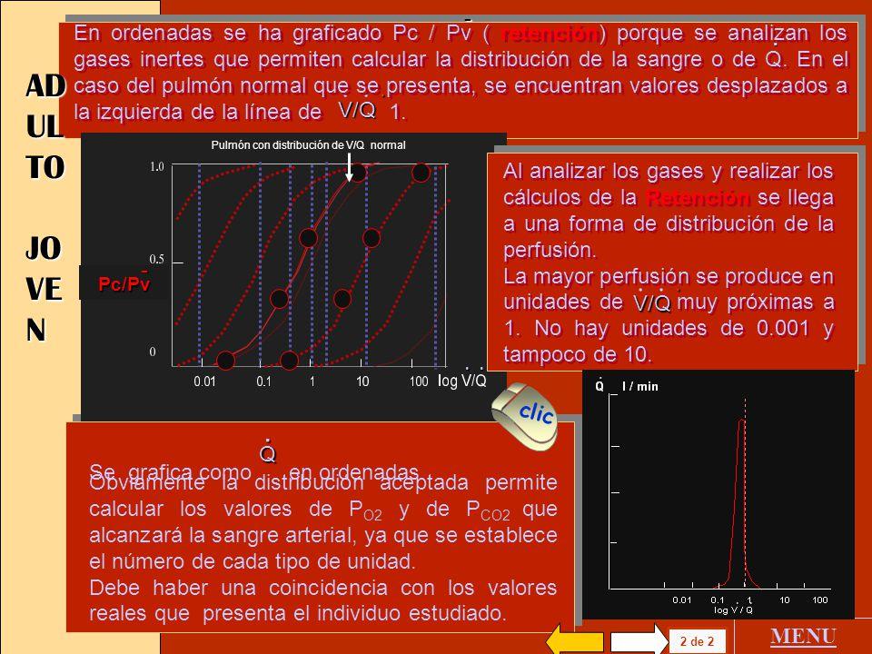 V l / min 0.01 0.1 1 10 100 log V/Q 1 de 2 MENU AD UL TO JO VE N 1.0 0.5 0 PA / Pv 0.01 0.1 1 10 100 log - V/Q... La distribución aceptada permite cal