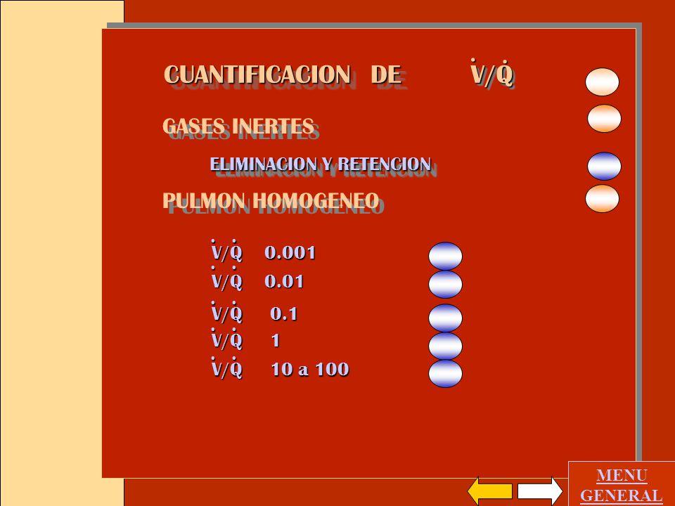 GASES INERTES ELIMINACION Y RETENCION PULMON HOMOGENEO GASES INERTES ELIMINACION Y RETENCION PULMON HOMOGENEO MENU GENERAL V/QV/Q..