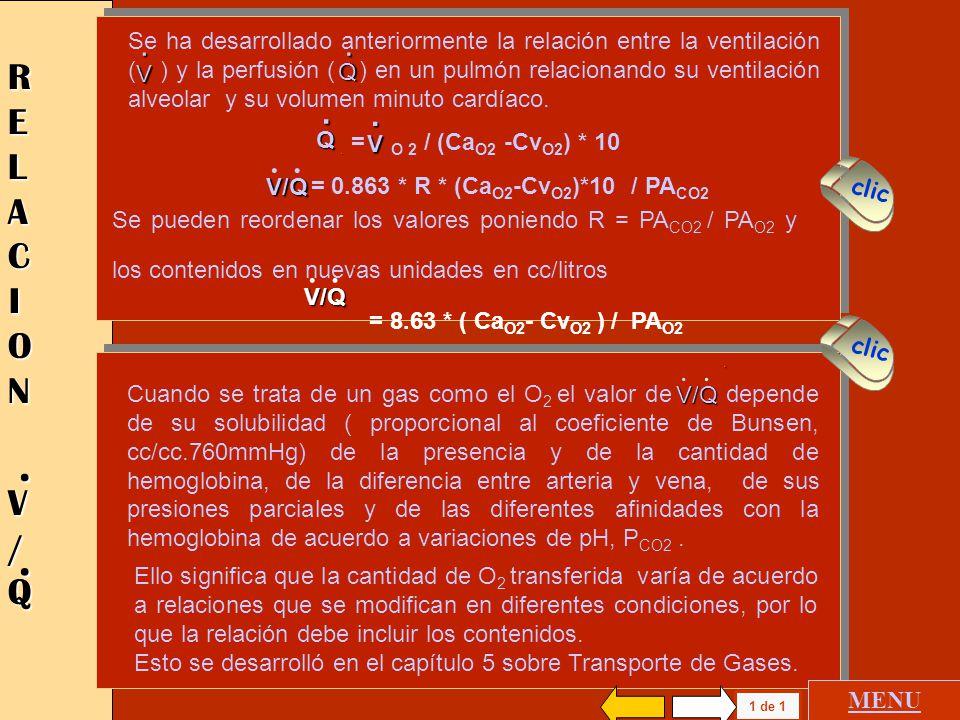 GASES INERTES ELIMINACION Y RETENCION PULMON HOMOGENEO GASES INERTES ELIMINACION Y RETENCION PULMON HOMOGENEO MENU GENERAL V/QV/Q.. CUANTIFICACION DE