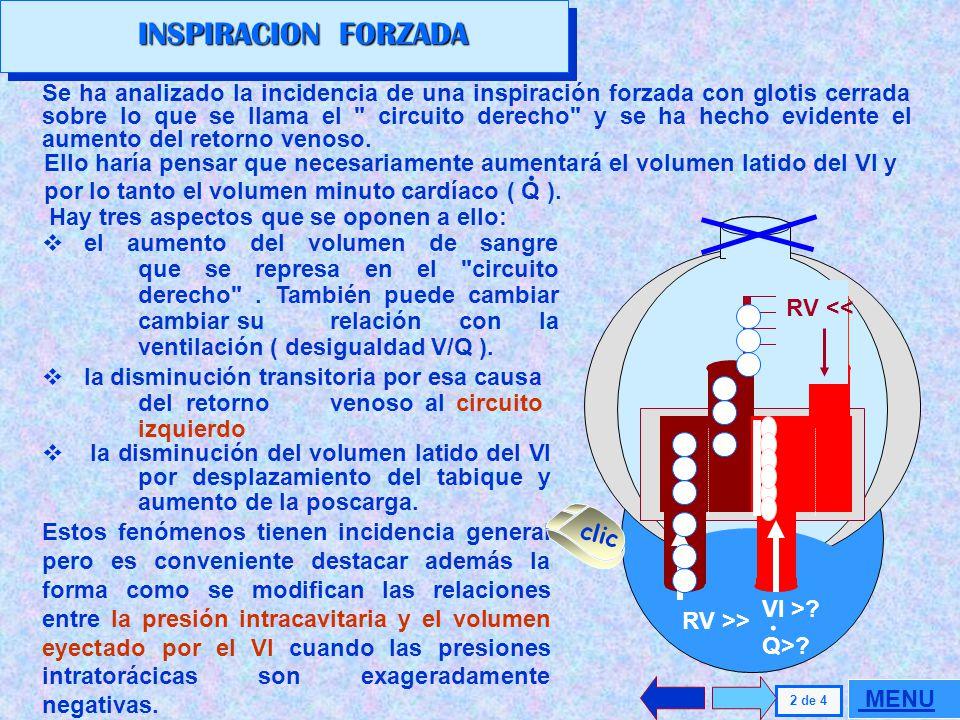 INSPIRACION FORZADA La maniobra de Muller es de uso común en la evaluación clínica; intenta reproducir o magnificar las modificaciones cardiovasculare