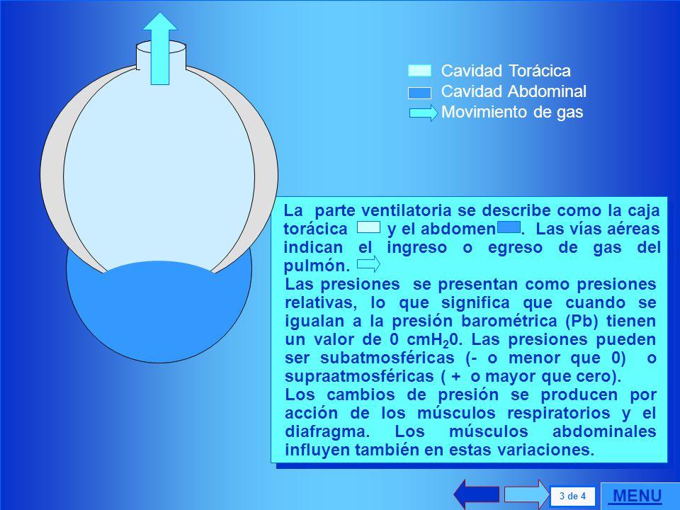 . 2 de 4 MENU Funcionalmente existe un sistema único, que es el cardiopulmonar. Debe considerarse como un conjunto el sistema ventilatorio representad