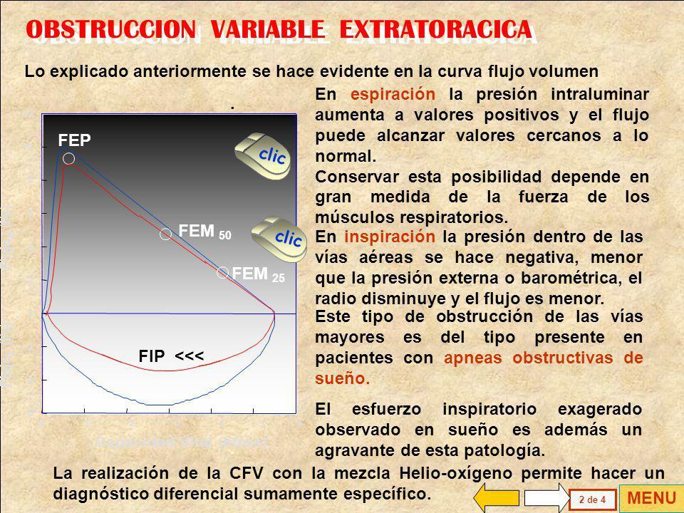 OBSTRUCCION VARIABLE EXTRATORACICA ESPIRACION Resistencia > INSPIRACION Resistencia > > En inspiración la presión intratorácica es subatmosférica, lo