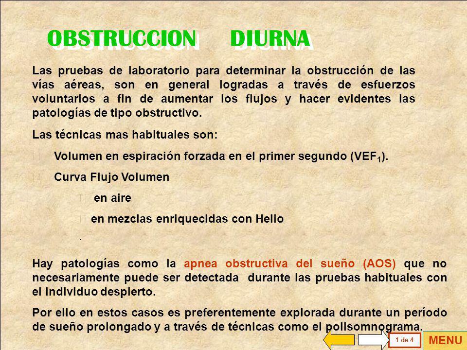 Curva Flujo Volumen Volumen en Espiración Forzada Patologías Restrictivas Patologías Obstructivas Uso de Helio MENU GENERAL